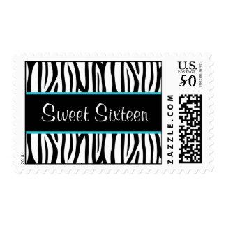 Zebra Teal Blue Sweet 16 Birthday Postage