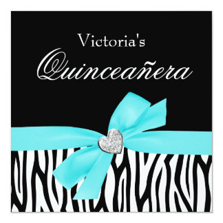 Zebra Teal Bow Diamond Quinceanera Invitations