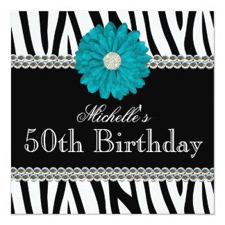 Zebra Teal Daisy Printed Gems 50th Birthday Card