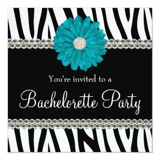 Zebra Teal Daisy Printed Gems Bachelorette Party Card