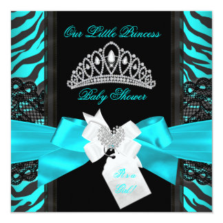 Zebra Teal Princess Baby Shower Girl Black 2 5.25x5.25 Square Paper Invitation Card