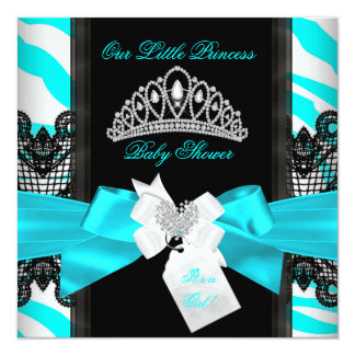 Zebra Teal Princess Baby Shower Girl Black 5.25x5.25 Square Paper Invitation Card