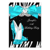 Zebra Teal Turquoise High Heel Shoe Birthday Invitation