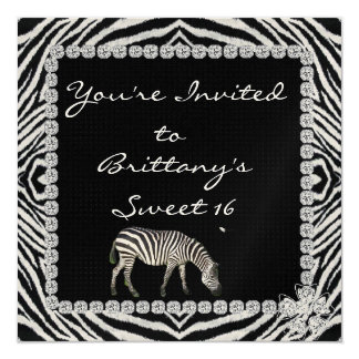 ZEBRA THEME with BLING SWEET 16 Invitation