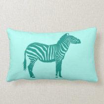 Zebra - Turquoise and Aqua Lumbar Pillow