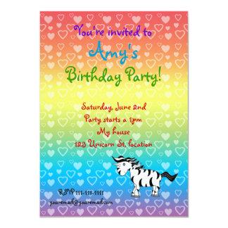 Zebra unicorn birthday invitation