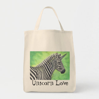 Zebra Unicorn Realism Art personalizable tote bag