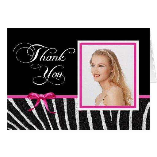 Zebra w/Pink Ribbon Thank You Notecard Cards