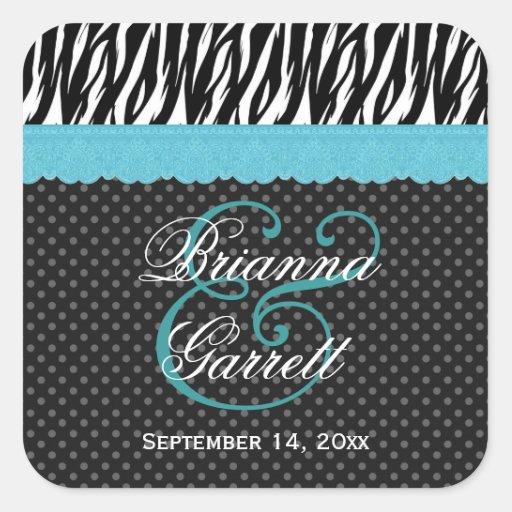 Zebra Wedding Aqua Blue Lace Wedding 01 Square Sticker