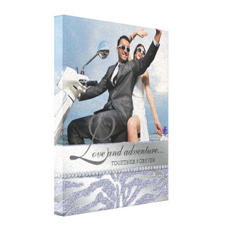 Zebra Wedding Engagement Photo Canvas Silver Gallery Wrap Canvas