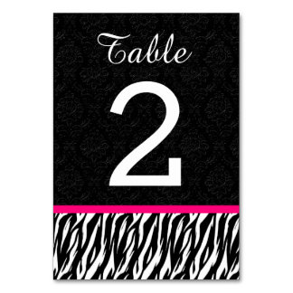 ZEBRA Wedding Table Number 1 with HOT PINK V2 Table Cards