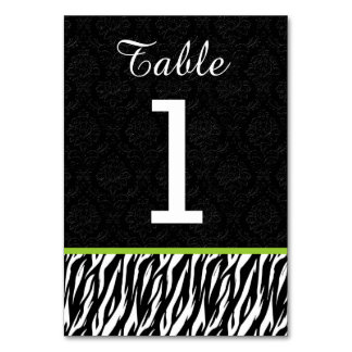 ZEBRA Wedding Table Number 1 with LIME GREEN Table Card