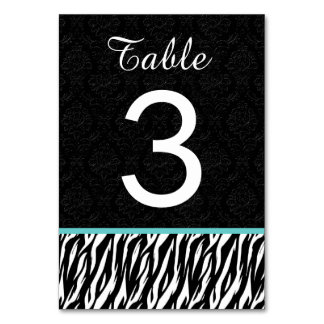 ZEBRA Wedding Table Number 3 with AQUA BLUE Table Card
