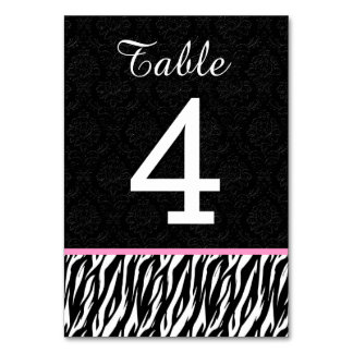 ZEBRA Wedding Table Number 4 with PINK Table Card