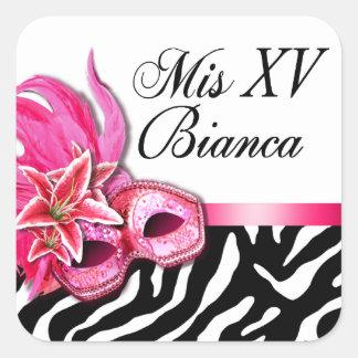 Zebra White Masquerade Quinceañera Sticker