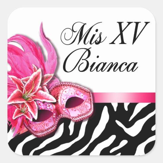 Zebra & White Masquerade Quinceañera Sticker