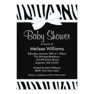 Zebra White Printed Bow Baby Shower Invitation