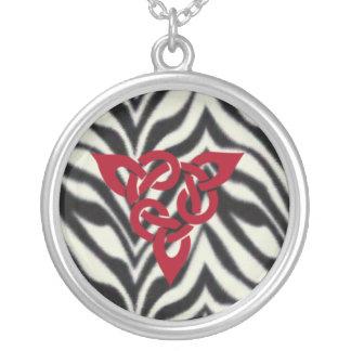Zebra Wicca Symbol Round Pendant Necklace
