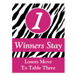 Zebra Wild Animal Print Bunco Table Number Card #1