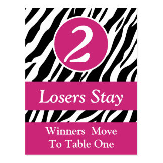 Zebra Wild Animal Print Bunco Table Number Card #2