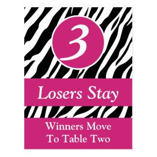 Zebra Wild Animal Print Bunco Table Number Card #3