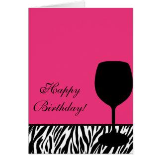 zebra wine birthday greeting card