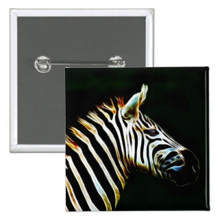 Zebra with black and white stripes in Africa 2 Inch Square Button