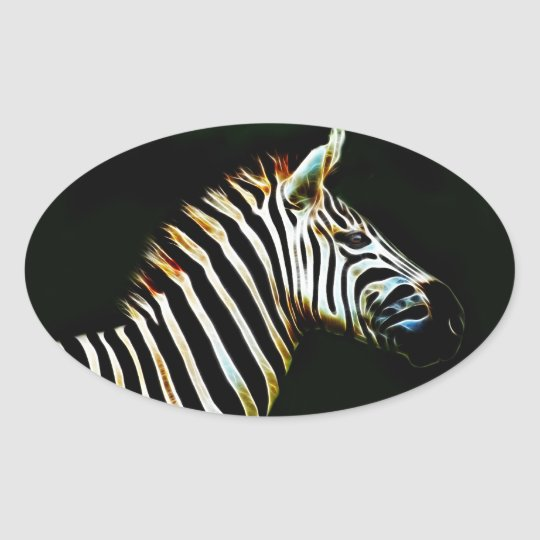 Zebra with black and white stripes in Africa Oval Sticker