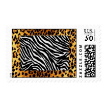 Zebra with Cheetah Print Trim Postage