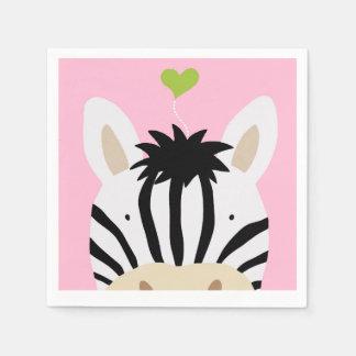Zebra with Heart Standard Cocktail Napkin