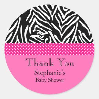 Zebra with Hot Pink Polka Dot Pattern Baby Shower Classic Round Sticker