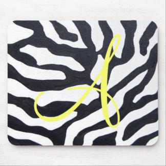 Zebra with Monogram Mouse Pad