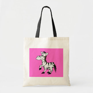 Zebra With Pink Background Bags