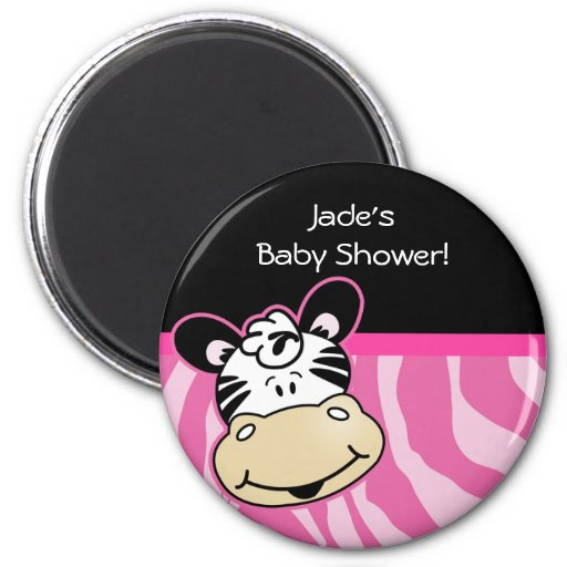 Zebra with Pink Zebra stripes Baby Shower Favor Magnet