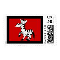 Zebra With Red Background Postage