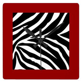 Zebra with Red Trim Clock