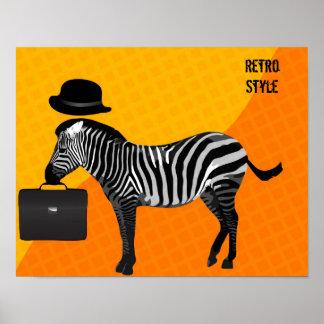 Zebra with Suitcase Retro Poster