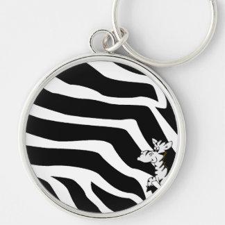 Zebra With Zebra Stripes Keychain