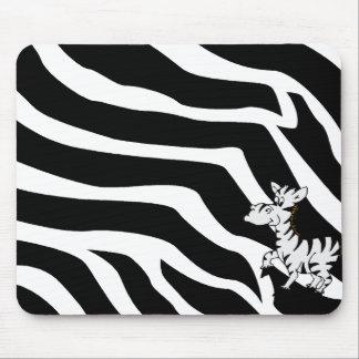 Zebra With Zebra Stripes Mousepads
