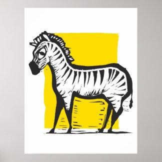 Zebra Woodcut Poster