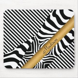 Zebra y rayas nombradas alfombrilla de ratones