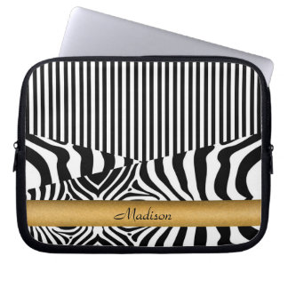 Zebra y rayas nombradas funda ordendadores