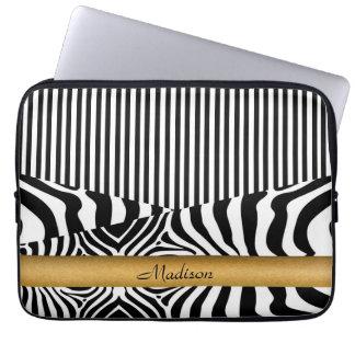 Zebra y rayas nombradas funda computadora