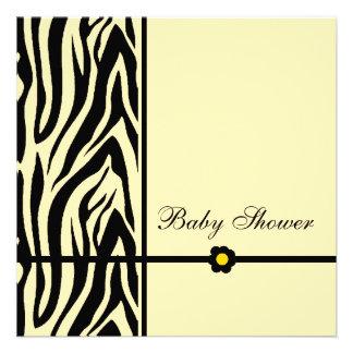 Zebra Yellow-Baby Shower Boy Announcement