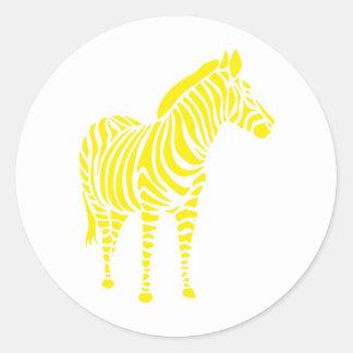 Zebra yellow orange yello blue abstractly kuns ani classic round sticker