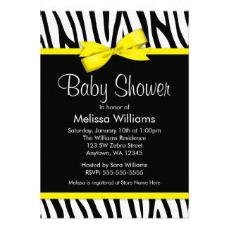 Zebra Yellow Printed Bow Baby Shower Custom Invitations