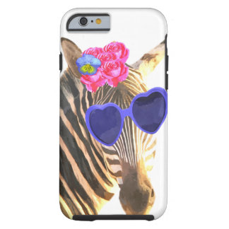Zebra zoo animal funny cute watercolor tough iPhone 6 case