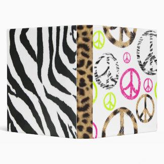 zebracheetahprintpeace 3 ring binder