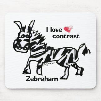 Zebraham- I love contrast Mouse Pad