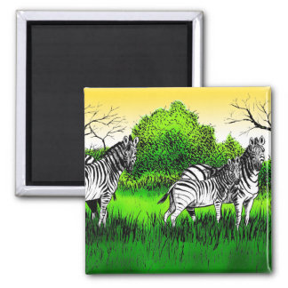 Zebras Alert 2 Inch Square Magnet
